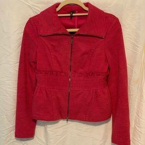 Pink Zip-Up Blazer with Pockets